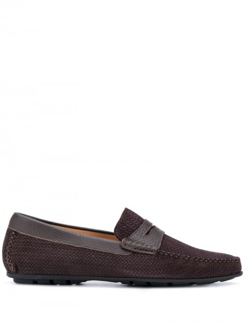 Corneliani - woven penny loafers - men - Leather/Rubber - 7, 8 - Brown