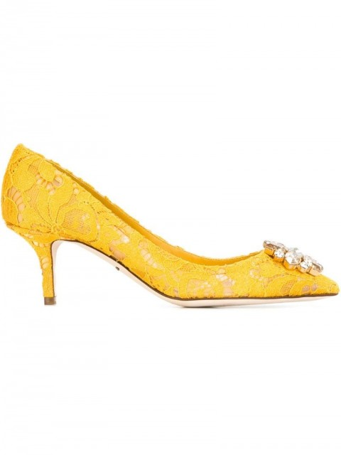 Dolce & Gabbana - 'Belluci' pumps - women - glass/Silk/Metal (Other)/Leather - 35, 38,5, 40, 38, 37 - yellow