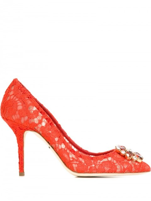 Dolce & Gabbana - 'Belluci' pumps - women - Cotton/Leather/glass/Leather - 38, 41, 36, 40, 40,5, 34, 35, 39, 38,5, 39,5, 36,5, 37,5, 37 - Red