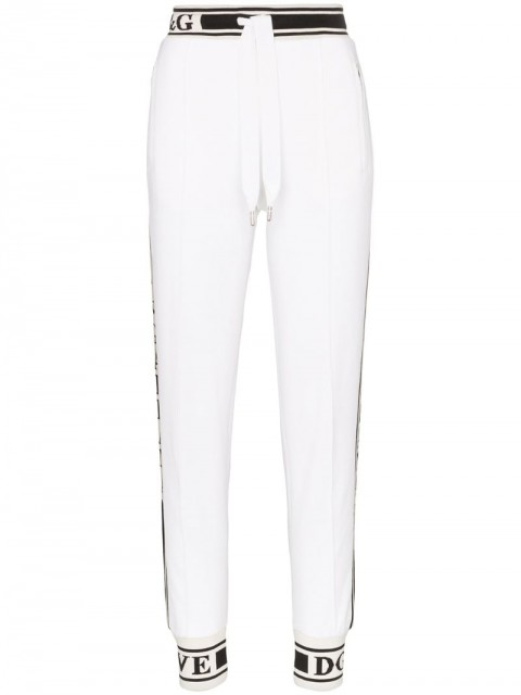 Dolce & Gabbana - Logo detail cotton track pants - women - Cotton - 38, 40, 42, 44, 46, 48, 36 - White