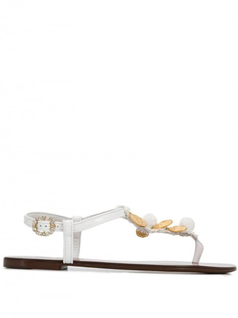 Dolce & Gabbana - coin embellished sandals - women - Polyester/Leather/Cotton/Leather - 36, 36,5, 37, 39,5 - White