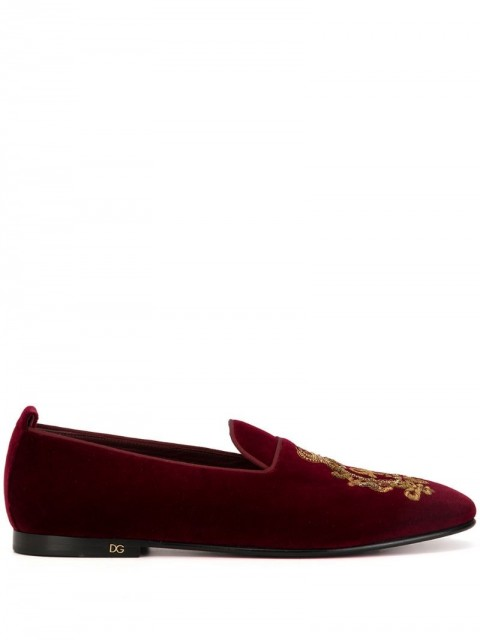 Dolce & Gabbana - Vaticano slippers - men - Leather - 43, 39, 40, 40,5, 41, 41,5, 42, 42,5, 44, 45 - Red