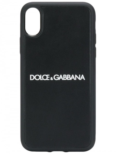 Dolce & Gabbana - iPhone X logo case - men - Polycarbonite/Calf Leather/Thermoplastic Polyurethane (TPU) - One Size - Black