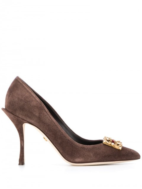 Dolce & Gabbana - embellished logo buckle pumps - women - Leather/Suede - 36,5, 37, 39, 37,5, 38, 40,5, 39,5, 35, 35,5, 38,5, 41, 36 - Brown
