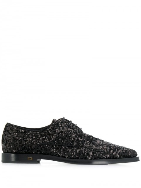 Dolce & Gabbana - sequinned Derby shoes - women - Leather/Polyester - 36,5, 37, 38, 36, 37,5 - Black