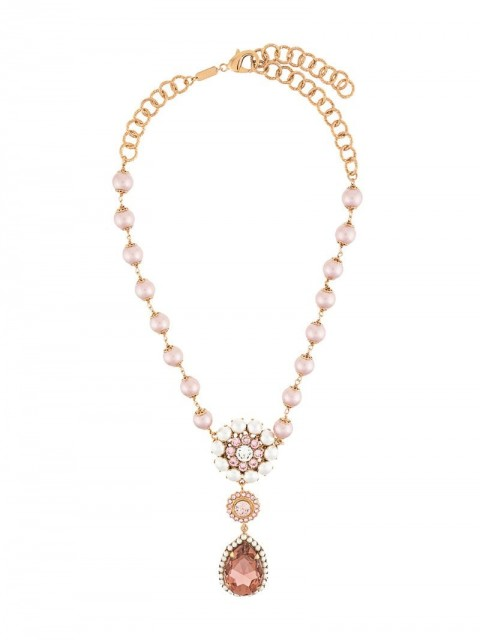 Dolce & Gabbana - crystal drop pearl beaded necklace - women - Brass - One Size - GOLD