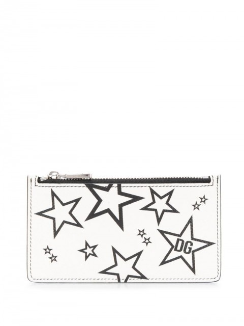 Dolce & Gabbana - star print card holder - men - Calf Leather - One Size - White