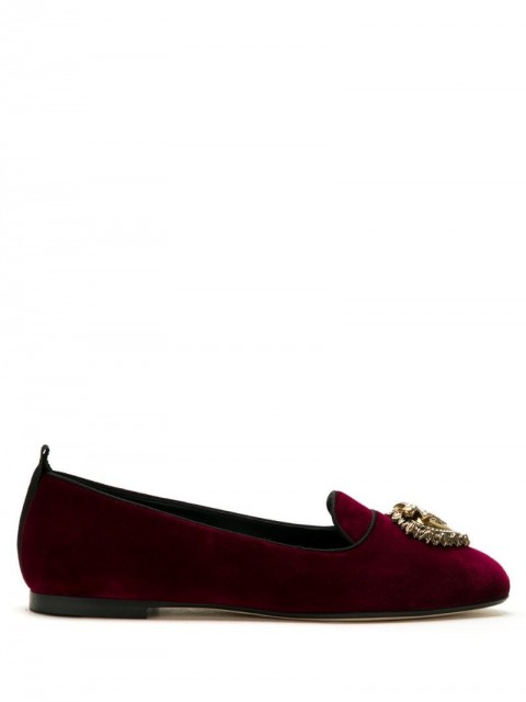 Dolce & Gabbana - Devotion velvet ballerina shoes - women - Cotton/Viscose - 36,5, 37, 38, 38,5, 39, 39,5, 40, 40,5 - Red