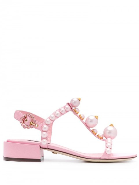 Dolce & Gabbana - bejewelled satin sandals - women - Leather/Polyester/Polyacrylic/Rubber - 40 - PINK