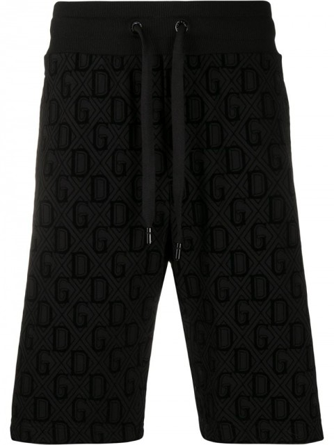 Dolce & Gabbana - flocked DG print track shorts - men - Cotton/Polyamide - 46, 48 - Black