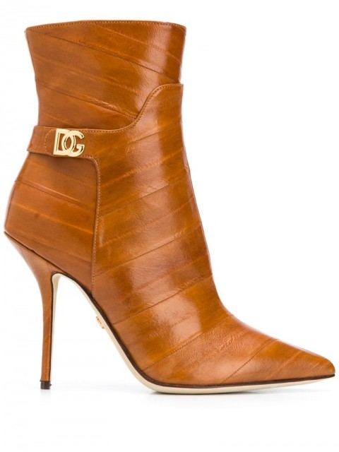 Dolce & Gabbana - pointed-toe leather ankle boots - women - Leather/Eel Skin - 36, 36,5, 37, 37,5, 38, 38,5, 39, 40 - Neutrals