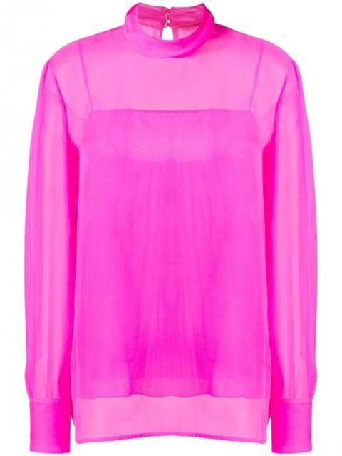 Emilio Pucci - high-neck silk top - women - Silk/Spandex/Elastane - 40, 46 - PINK