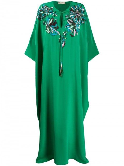 Emilio Pucci - long beaded kaftan - women - Silk - One Size - Green