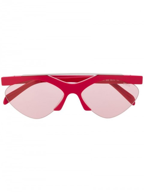 Emilio Pucci - geometric frame print sunglasses - women - Acetate - 59 - Red