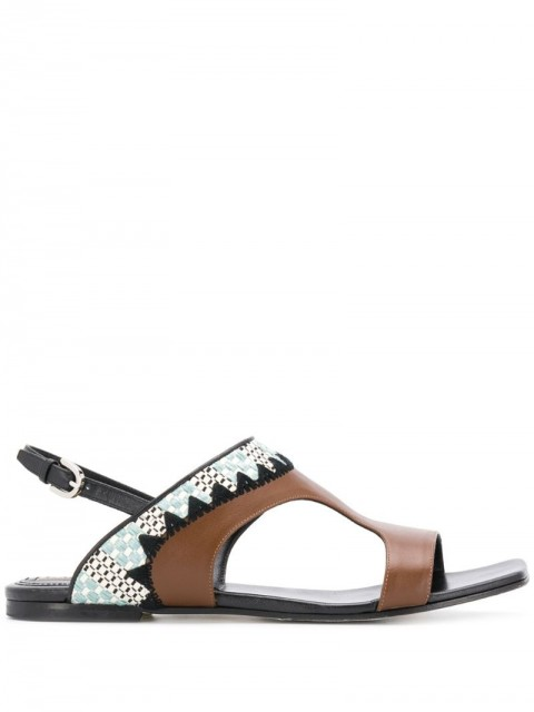 Emilio Pucci - abstract print sandals - women - Leather - 38, 39, 40 - Brown