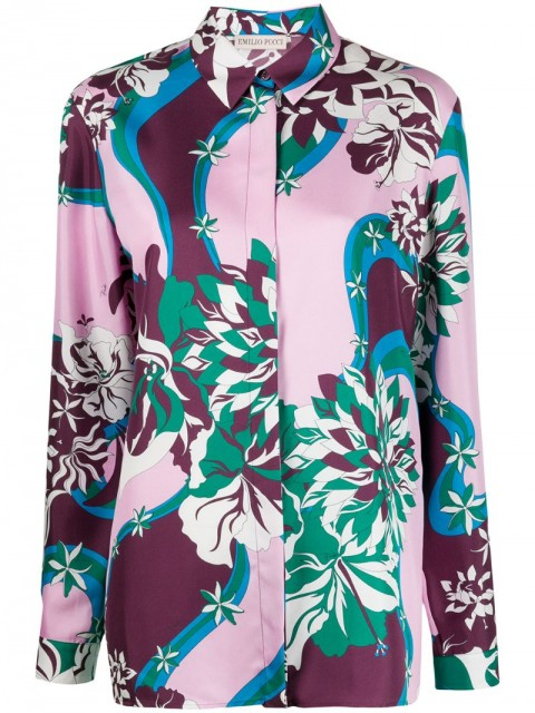Emilio Pucci - abstract print silk shirt - women - Silk - 42, 44 - PINK