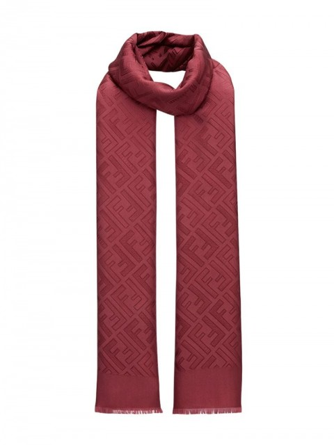Fendi - FF motif scarf - women - Silk - One Size - Red