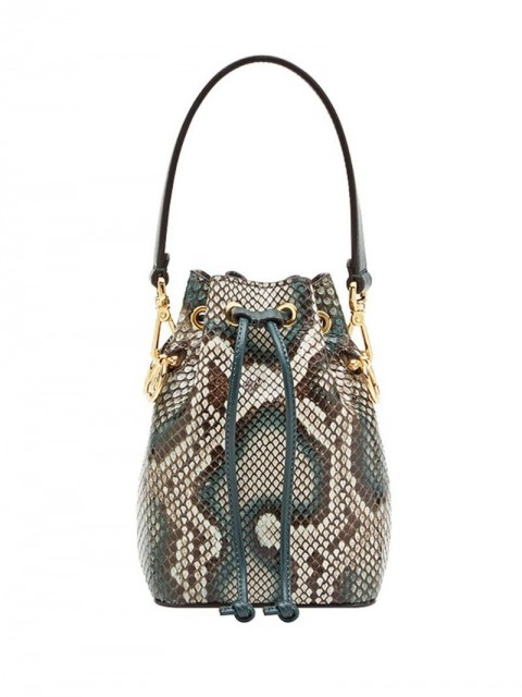 Fendi - Mon Tresor mini bag - women - Brass/Polyamide/Python Skin/Calf Leather - One Size - Multicolour