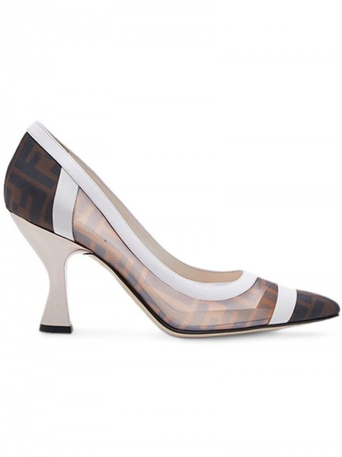 Fendi - Colibrì FF motif mesh pumps - women - Calf Leather/Polyamide/Goat Skin - 38 - Brown