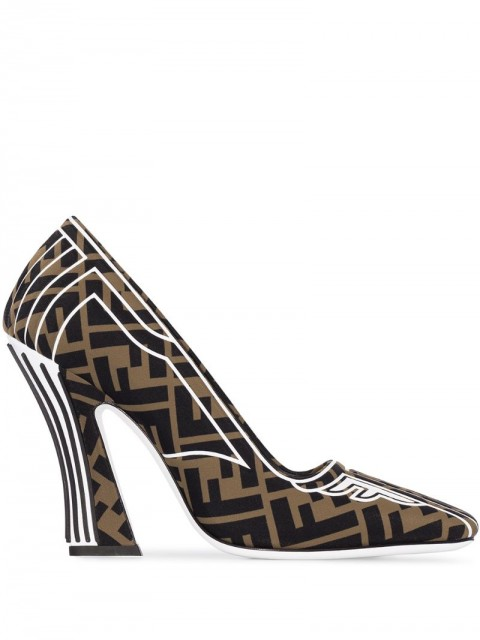 Fendi - FF motif square toe pumps - women - Leather/Polyamide - 40 - Brown