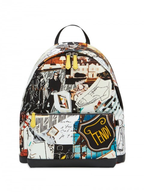 Fendi - Karl kollage backpack - men - Calf Leather/Polyamide/Polyester/Resin - One Size - Multicolour