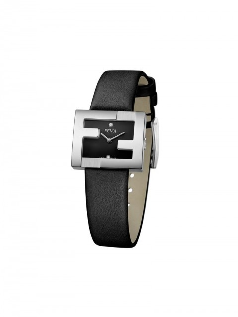 Fendi - FF logo embellished watch - women - Calf Leather/stainless steel - One Size - Black