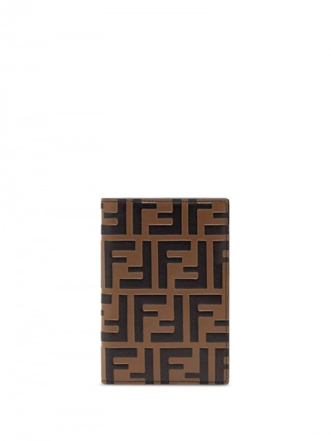Fendi - debossed FF passport wallet - women - Cotton/Calf Leather/Resin - One Size - Brown