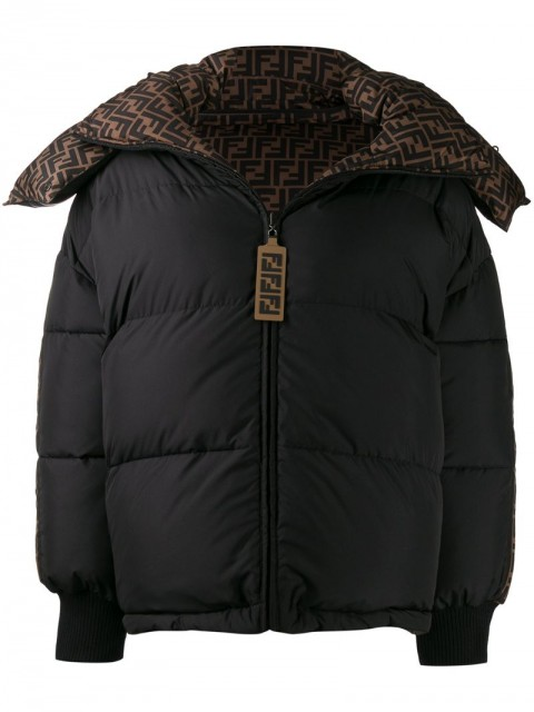 Fendi - FF motif reversible padded jacket - women - Feather Down/Polyamide/Polyester/Spandex/ElastanePVC - L, M, S - Black