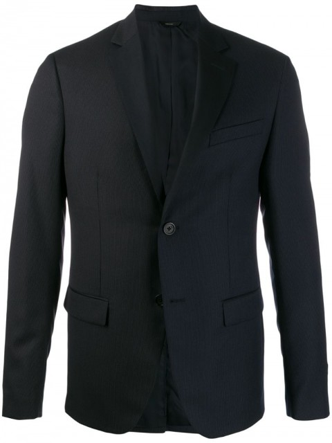 Fendi - two tone pinstriped blazer - men - Polyester/Cupro/Wool - 50, 52 - Blue