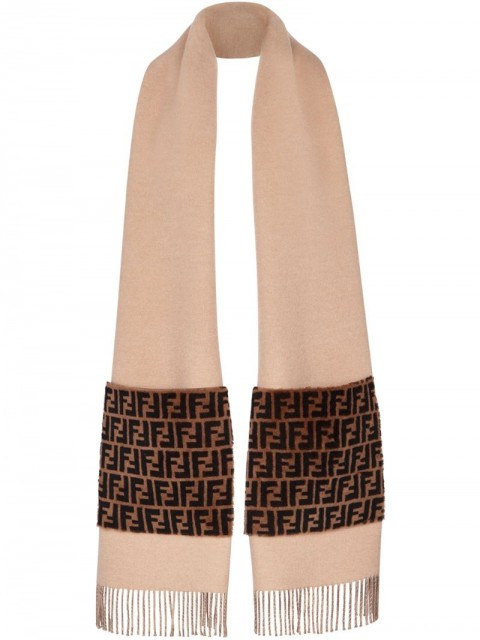 Fendi - Touch of Fur scarf - women - Cashmere/Wool/Merino - One Size - Neutrals