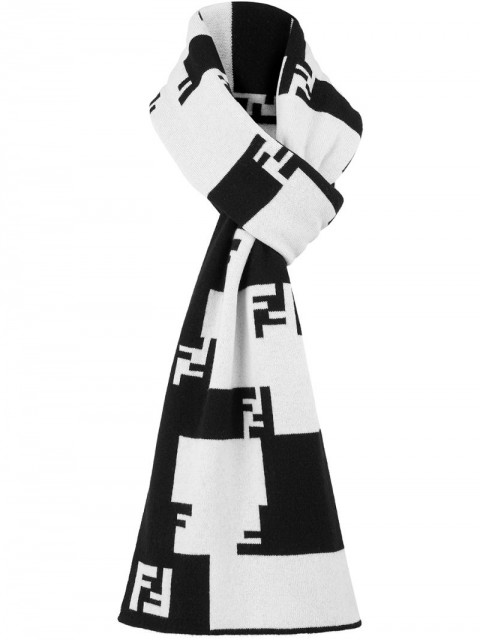 Fendi - FF Tetris scarf - men - Cashmere - One Size - Black