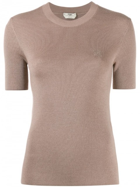 Fendi - embroidered Karligraphy motif knitted top - women - Silk/Virgin Wool - 44, 42, 38, 46, 40 - Neutrals