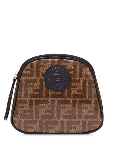 Fendi - medium FF motif toiletry case - women - Cotton/Calf Leather/Resin - One Size - Brown