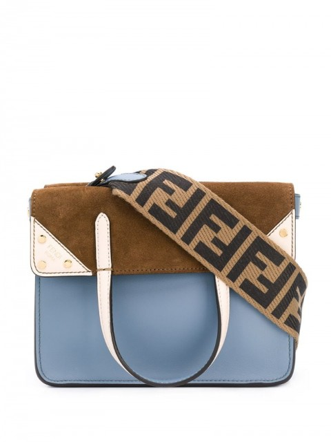 Fendi - small Fendi Flip crossbody bag - women - Calf Leather/Suede - One Size - Blue