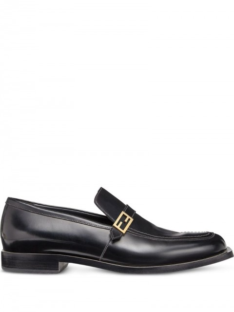 Fendi - smooth FF detail loafers - men - Calf Leather - 6, 7, 9, 9.5, 10, 11, 12, 13, 5 - Black