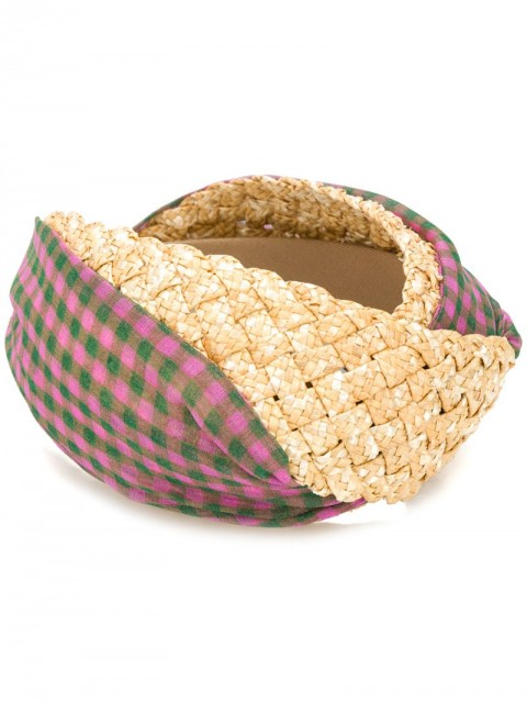 Fendi - check detailed straw hair band - women - Straw/Fabric - One Size - PINK