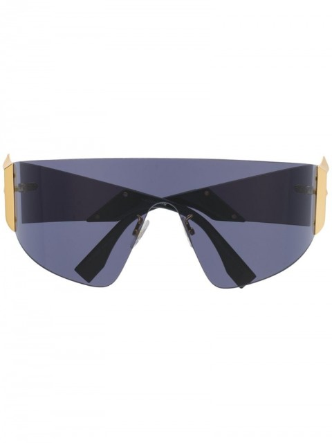 Fendi Eyewear - oversized frame sunglasses - unisex - Acetate - One Size - Black
