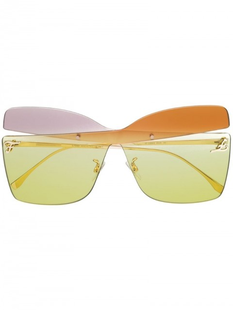 Fendi Eyewear - Karligraphy sunglasses - women - Metal (Other) - One Size - GOLD