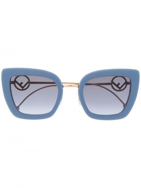 Fendi Eyewear - cat eye frame sunglasses - women - Acetate/Metal (Other) - 51 - Blue
