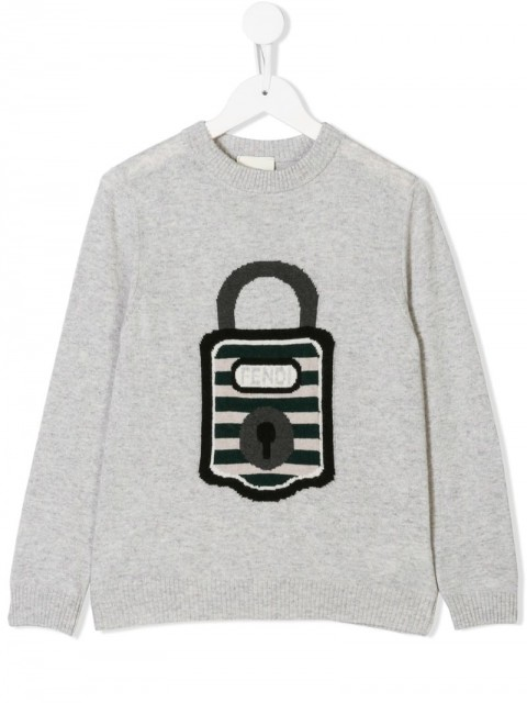 Fendi Kids - logo padlock embroidered sweater - kids - Viscose/Virgin Wool/Polyester/Cashmere - 8 - Grey