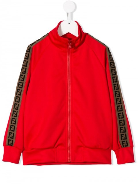 Fendi Kids - FF-striped zip-up jacket - kids - Polyester/Cotton - 8, 10 - Red