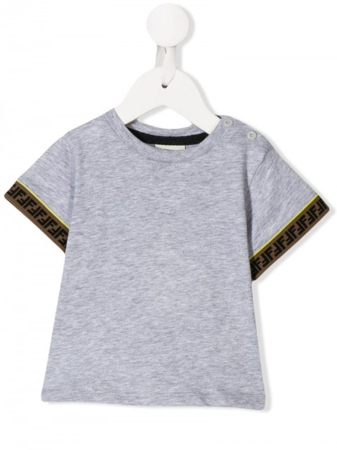 Fendi Kids - FF logo trim T-shirt - kids - Cotton - 6, 12 - Grey