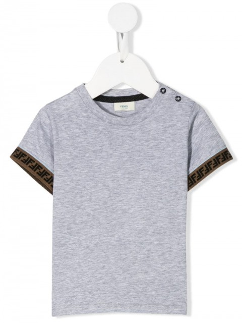 Fendi Kids - round neck T-shirt - kids - Cotton - 6 - Grey