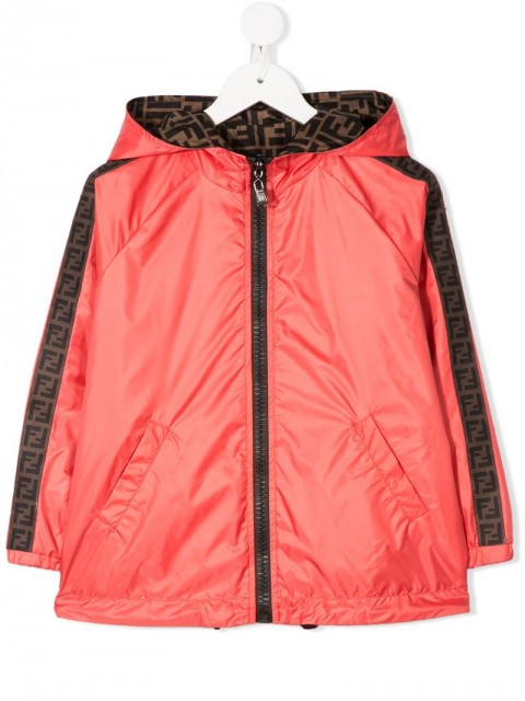 Fendi Kids - side panelled hooded rain jacket - kids - Polyester - 10, 4, 5, 8, 12, 6 - ORANGE