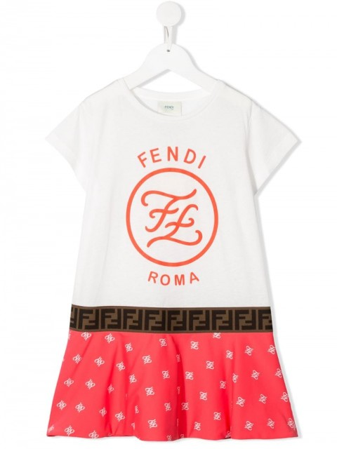 Fendi Kids - logo print short sleeve dress - kids - Cotton/Polyamide/Spandex/Elastane - 8, 10, 4, 5, 6, 12, 3 - White