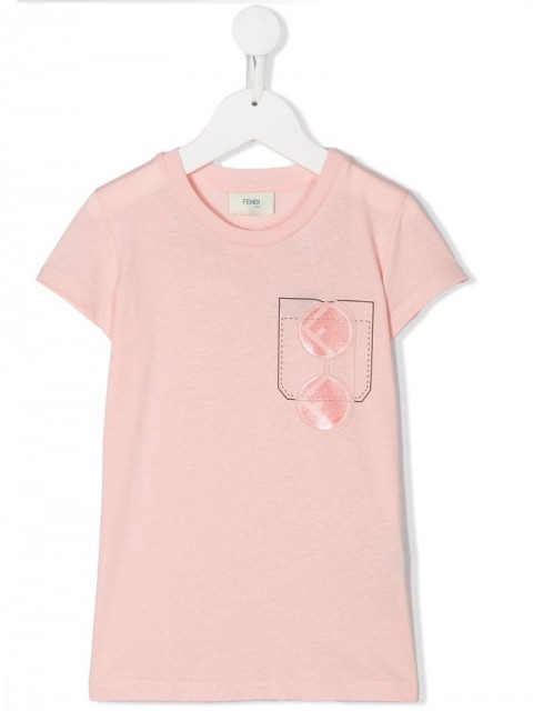 Fendi Kids - FF sunglasses pocket print T-shirt - kids - Cotton - 6 - PINK