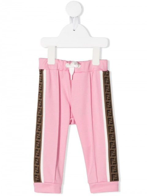 Fendi Kids - FF trim track pants - kids - Cotton/Polyester - 6, 9, 12, 18, 24 - PINK