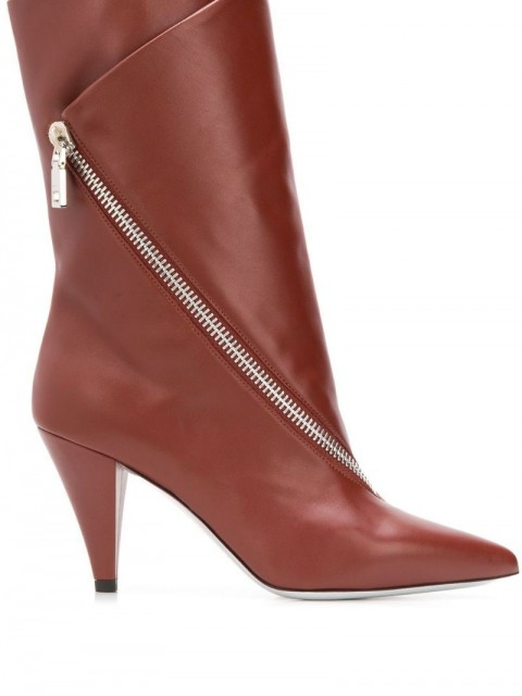 Givenchy - zipped flap boots - women - Leather/Calf Leather - 37, 38 - Brown