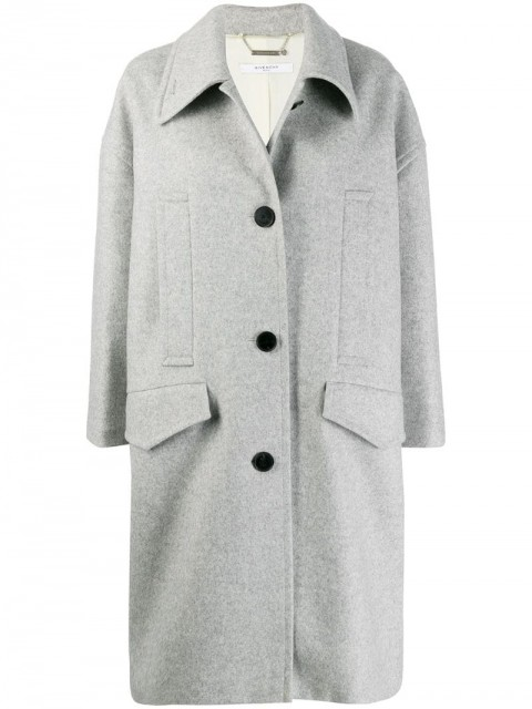 Givenchy - single breasted coat - women - Silk/Wool/Cashmere - 38, 36 - Grey