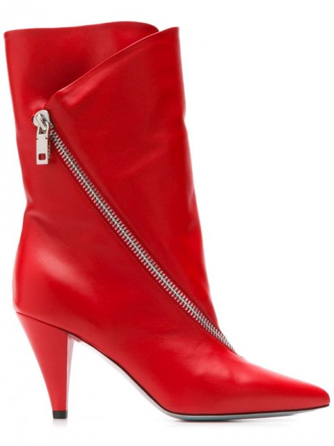 Givenchy - zipped mid-heel boots - women - Leather - 36, 38, 37, 39, 37.5, 38.5, 40 - Red